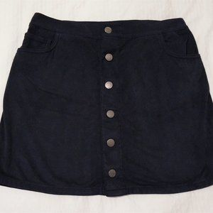 Express navy suede button up skirt